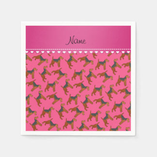 Personalized name pink airedale terriers dogs napkin