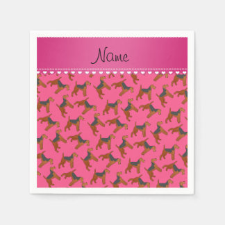 Personalized name pink airedale terriers dogs paper napkin