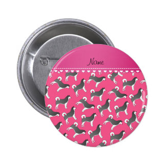 Personalized name pink alaskan malamute dogs 2 inch round button
