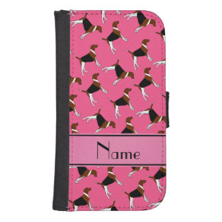 Personalized name pink american foxhound dogs galaxy s4 wallet cases