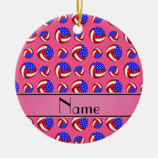 Personalized name pink american volleyballs ceramic ornament