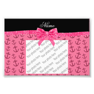 Personalized name pink anchors pink glitter bow photo art