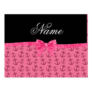 Personalized name pink anchors pink glitter bow postcards