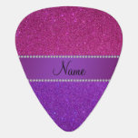 Personalized name pink and purple glitter guitar pick