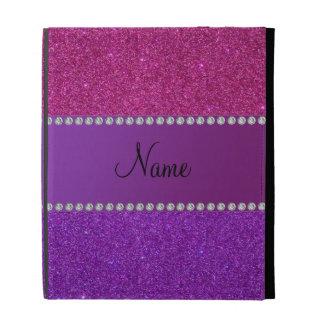 Personalized name pink and purple glitter iPad folio case