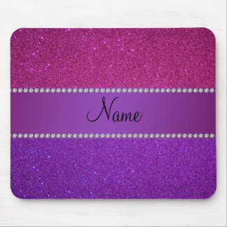 Personalized name pink and purple glitter mouse pad