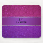 Personalized name pink and purple glitter mousepads