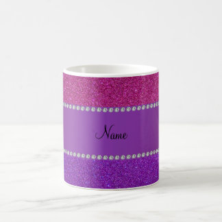 Personalized name pink and purple glitter classic white coffee mug