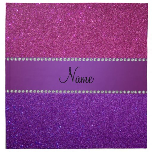 Personalized name pink and purple glitter cloth napkins
