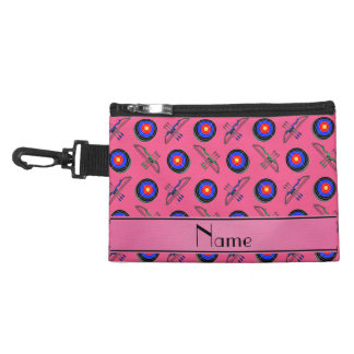 Personalized name pink archery accessories bag