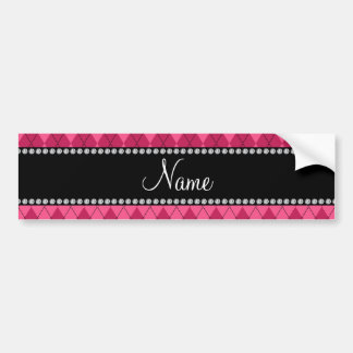 Personalized name Pink argyle Bumper Stickers