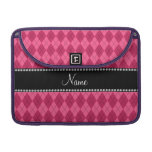 Personalized name Pink argyle Sleeves For MacBook Pro