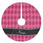 Personalized name Pink argyle Brushed Polyester Tree Skirt