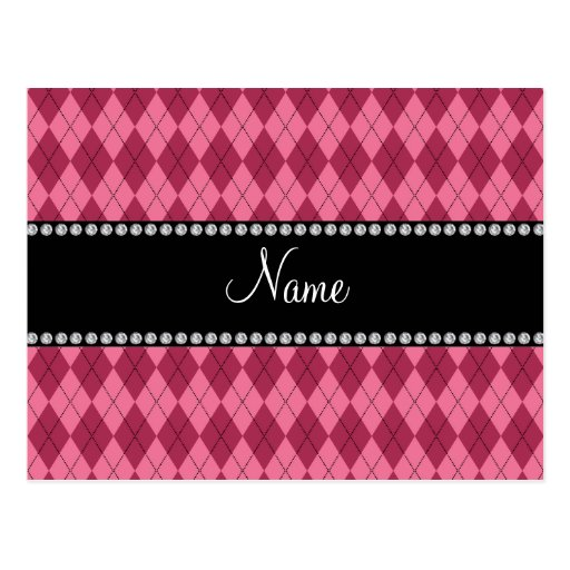 Personalized name Pink argyle pattern Postcards