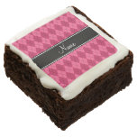 Personalized name Pink argyle Square Brownie