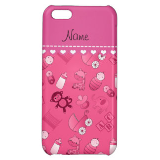 Personalized name pink baby animals case for iPhone 5C