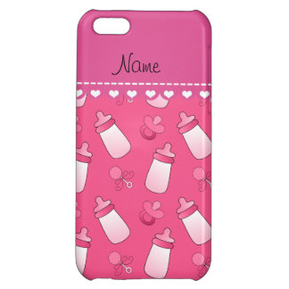 Personalized name pink baby bottle rattle pacifier iPhone 5C cases