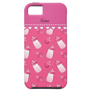 Personalized name pink baby bottle rattle pacifier iPhone SE/5/5s case