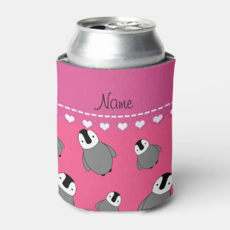 Personalized name pink baby penguins can cooler