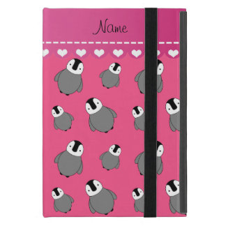 Personalized name pink baby penguins cover for iPad mini