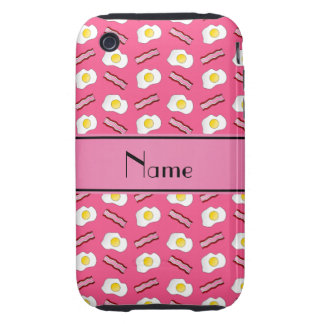 Personalized name pink bacon eggs tough iPhone 3 covers