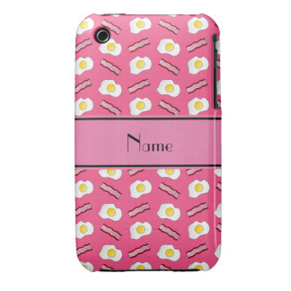 Personalized name pink bacon eggs Case-Mate iPhone 3 case