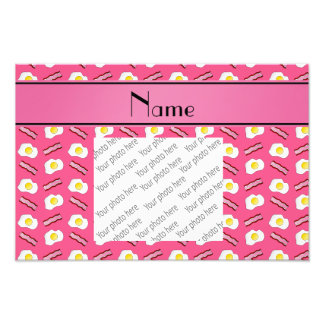 Personalized name pink bacon eggs photo art
