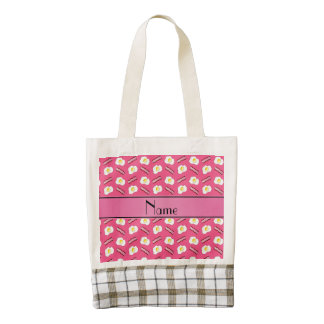 Personalized name pink bacon eggs zazzle HEART tote bag