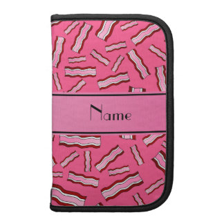 Personalized name pink bacon pattern organizers