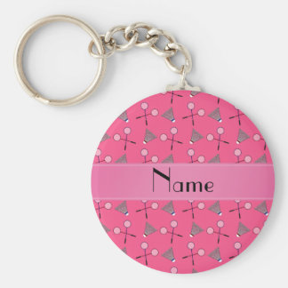 Personalized name pink badminton pattern basic round button keychain