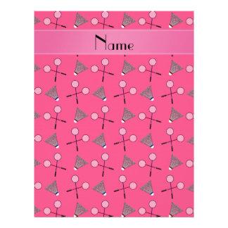 Personalized name pink badminton pattern letterhead