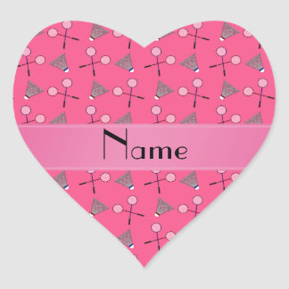 Personalized name pink badminton pattern stickers