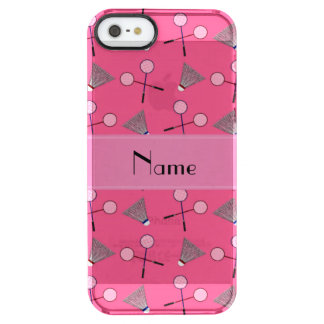 Personalized name pink badminton uncommon clearly™ deflector iPhone 5 case