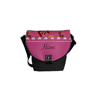 Personalized name pink barn animals courier bag
