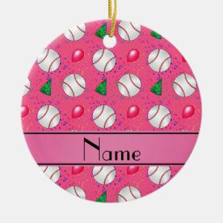 Personalized name pink baseball birthday ceramic ornament