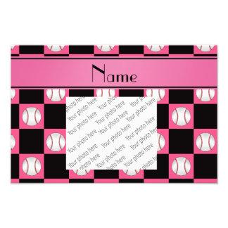 Personalized name pink baseball checkers photo print
