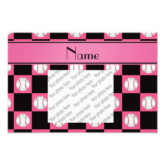 Personalized name pink baseball checkers art photo