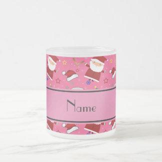Personalized name pink baseball christmas 10 oz frosted glass coffee mug