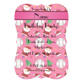 Personalized name pink baseball christmas 5x7 paper invitation card