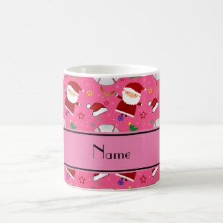 Personalized name pink baseball christmas classic white coffee mug