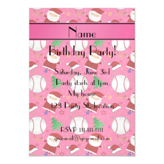 Personalized name pink baseball christmas magnetic invitations