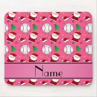 Personalized name pink baseball christmas mouse pad