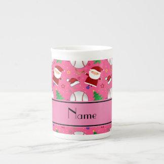 Personalized name pink baseball christmas tea cup