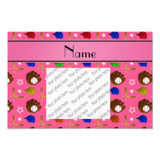 Personalized name pink baseball glove hats balls photo print