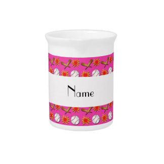 Personalized name pink baseball pattern drink pitchers