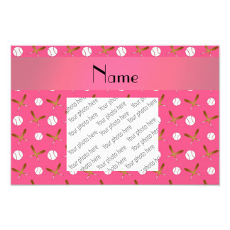Personalized name pink baseball photograph