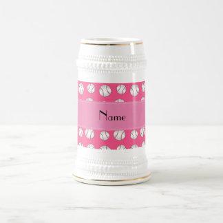 Personalized name pink baseballs pattern mug