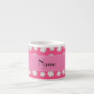 Personalized name pink baseballs pattern espresso mug