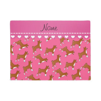 Personalized name pink basenji dogs doormat