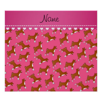 Personalized name pink basenji dogs poster